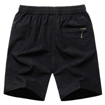 Men's Plus Size Fast Drying Summer Sports Shorts - BLACK 4XL