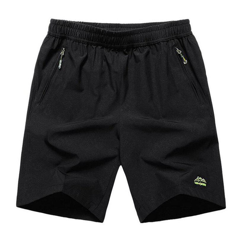 Men's Plus Size Fast Drying Summer Sports Shorts - BLACK 3XL