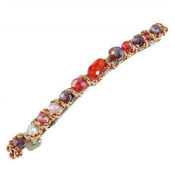 Blue Green Red Colorful Beads Barrettes Luxury Hair Clip - RUBY RED