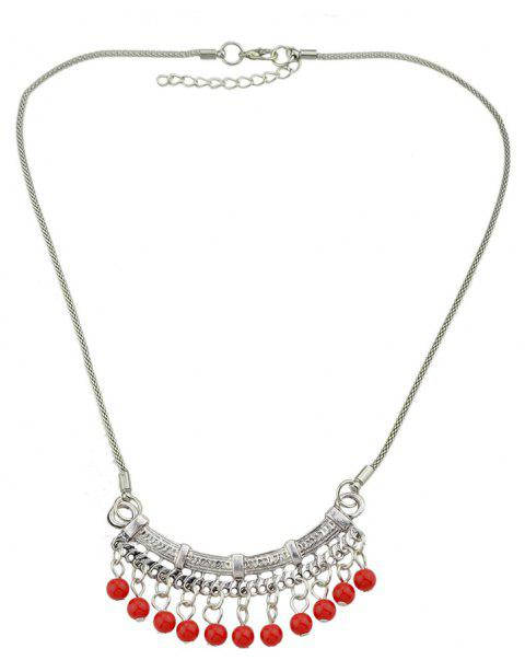 Blue Stone Red Beads Geometric Pendant Necklace - LAVA RED
