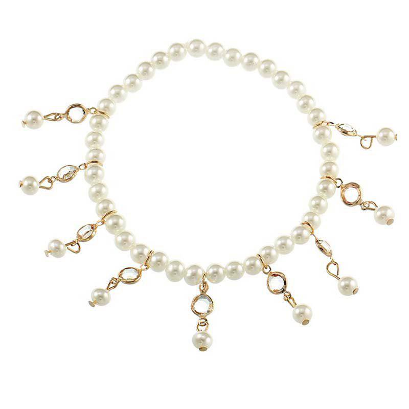Crystal Tassel Spring Beach Female Ankelt Chain - GOLD