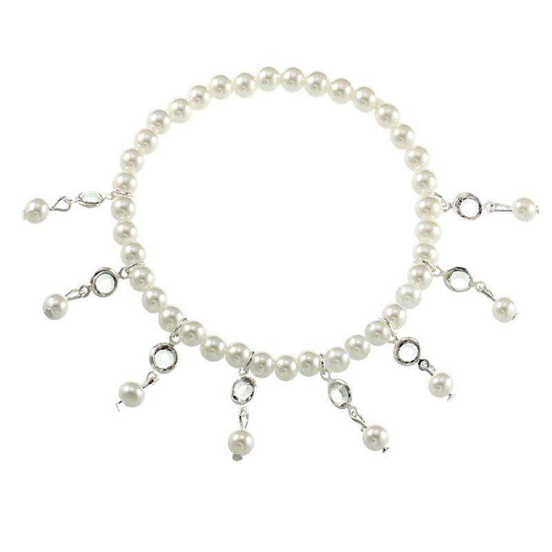 Crystal Tassel Spring Beach Female Ankelt Chain - SILVER