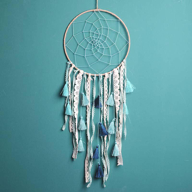 Nordic Style Green Tassel Hang Dreamcatcher - BLUE GREEN