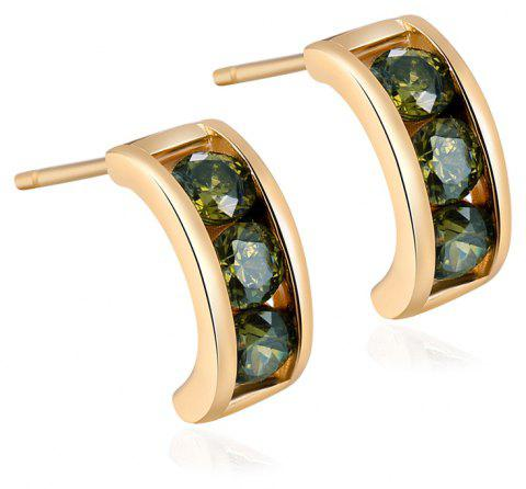 Simple and Exquisite Character Zircon Earrings ERZ0226 - FOREST GREEN