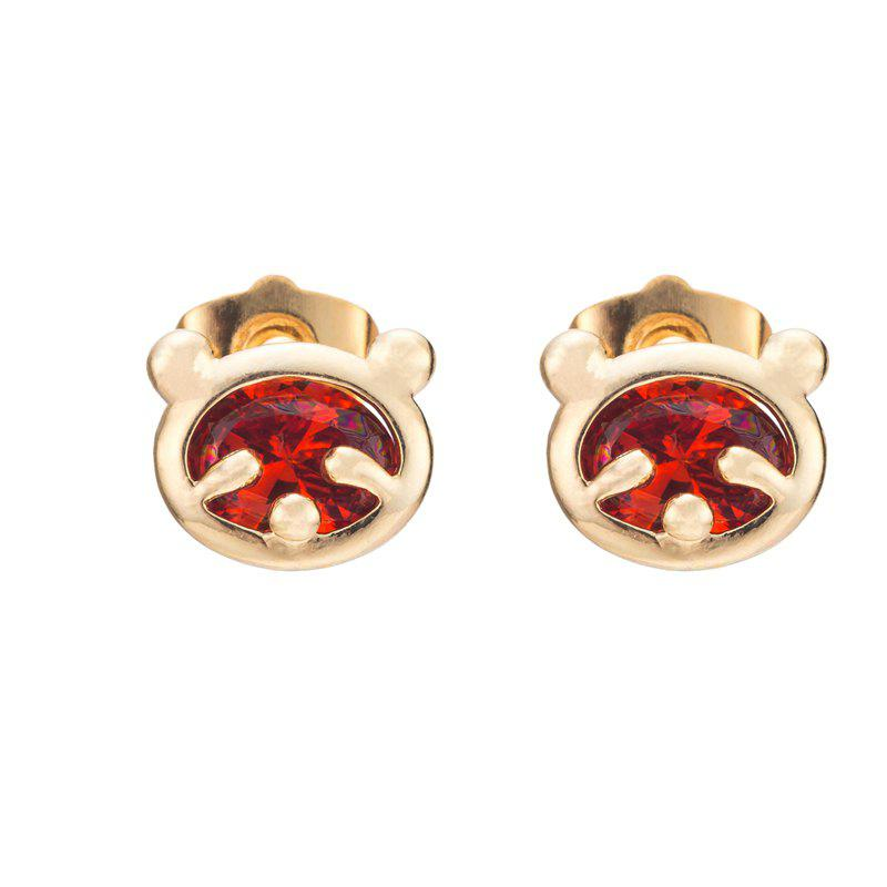 Little Bear Fine Zircon Earrings ERZ0232 - RUBY RED