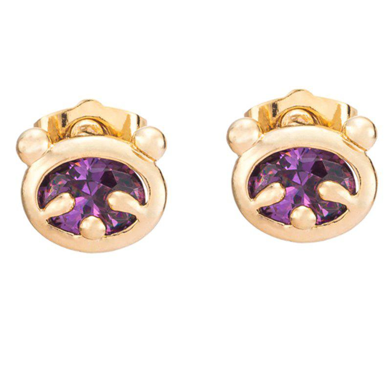 Little Bear Fine Zircon Earrings ERZ0232 - PURPLE