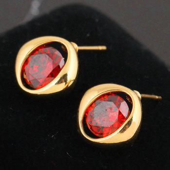 Simple and Exquisite Character Zircon Earrings ERZ0233 - RUBY RED