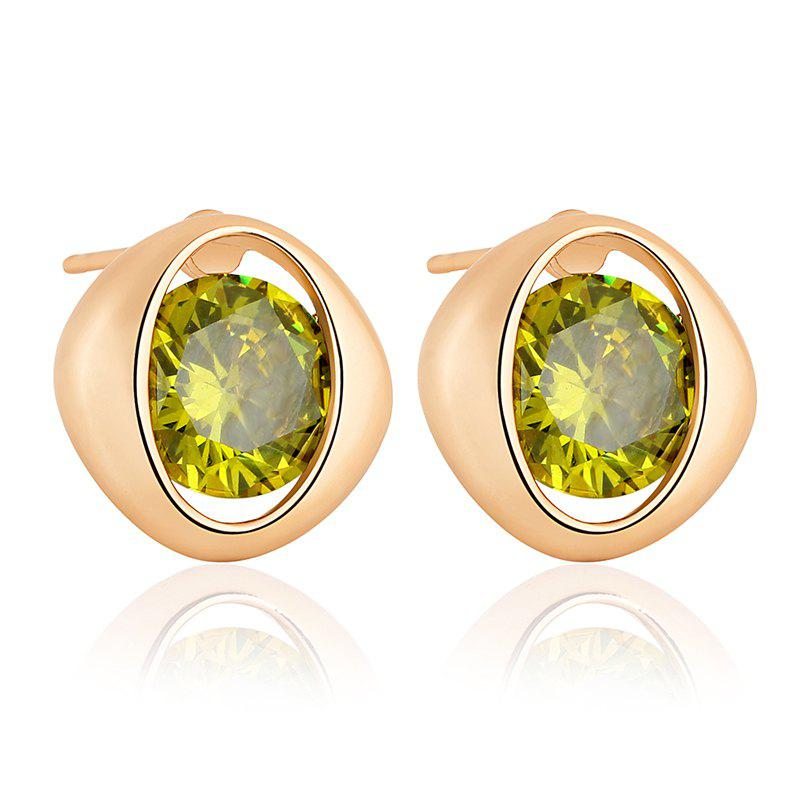 Simple and Exquisite Character Zircon Earrings ERZ0233 - FOREST GREEN