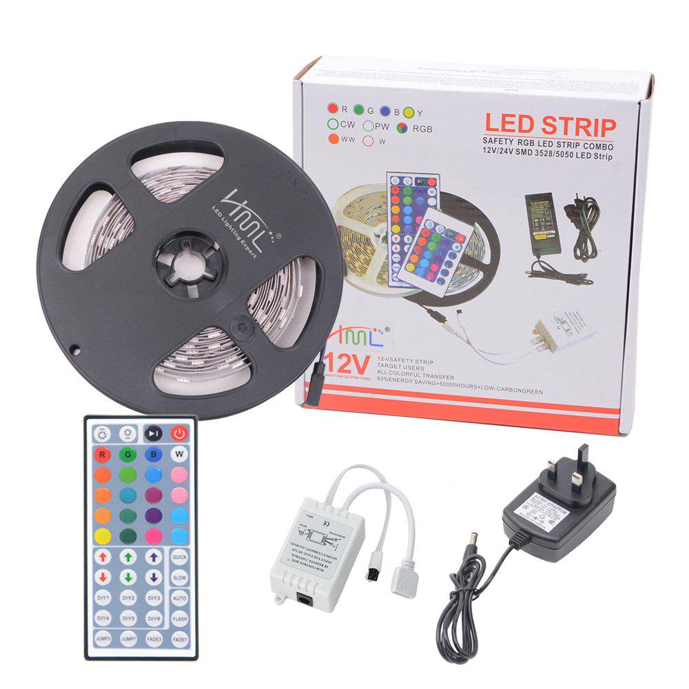 HML  5050 x150  RGB LED Lights Kit with 44key IR Remote Controller and UK-plug - BLACK