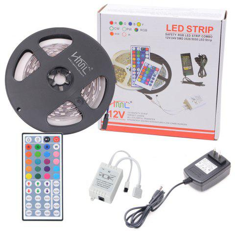 HML 5050 x150 RGB LED Lights Kit with 44key IR Remote Controller and US-plug - BLACK