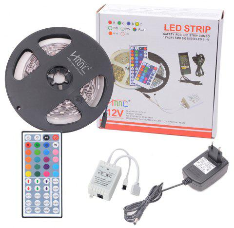 HML 5050 x150 RGB LED Lights Kit with 44key IR Remote Controller and EU-plug - BLACK