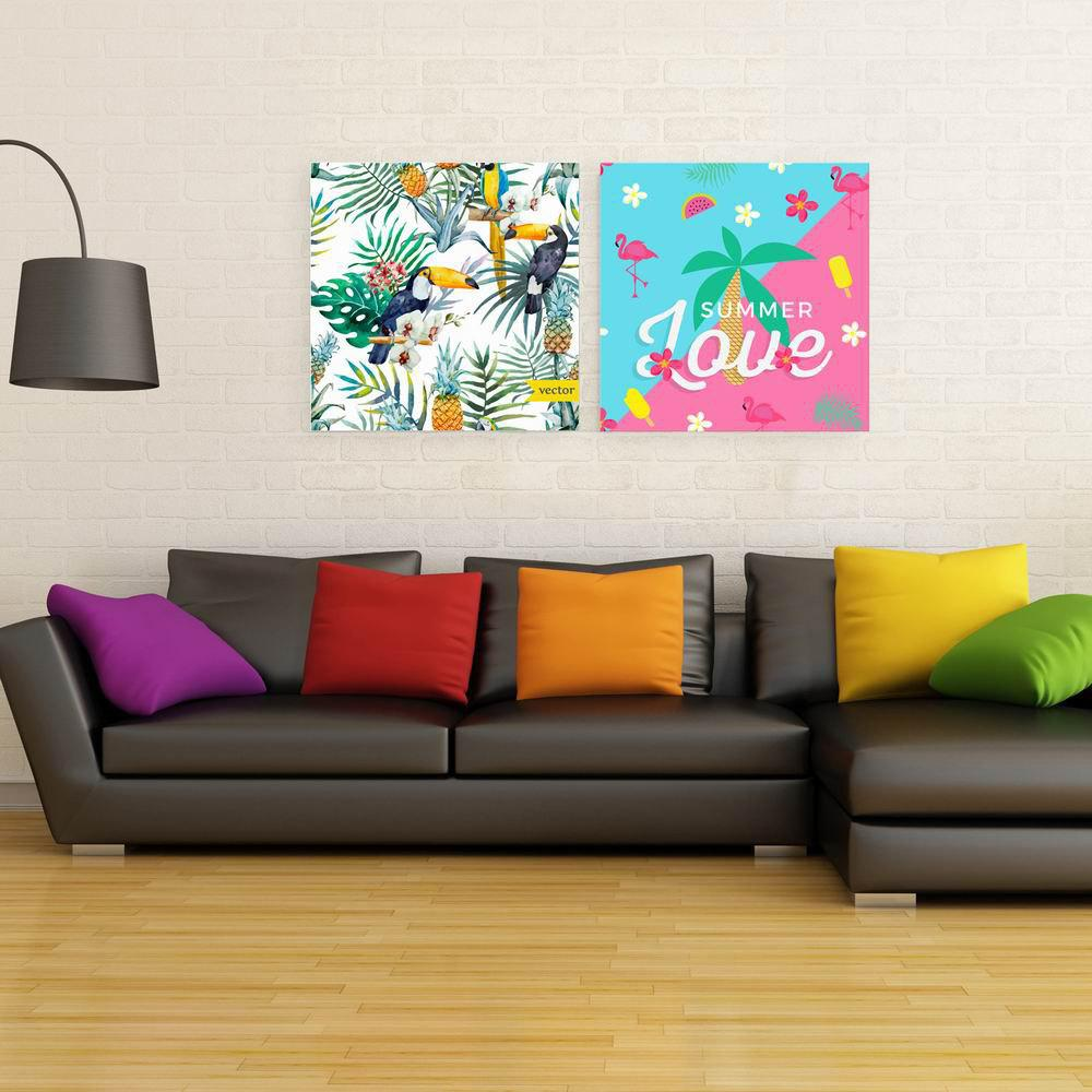 Фото W150 Summer Flowers Unframed Art Wall Canvas Prints for Home Decorations 2 PCS family wall quote removable wall stickers home decal art mural
