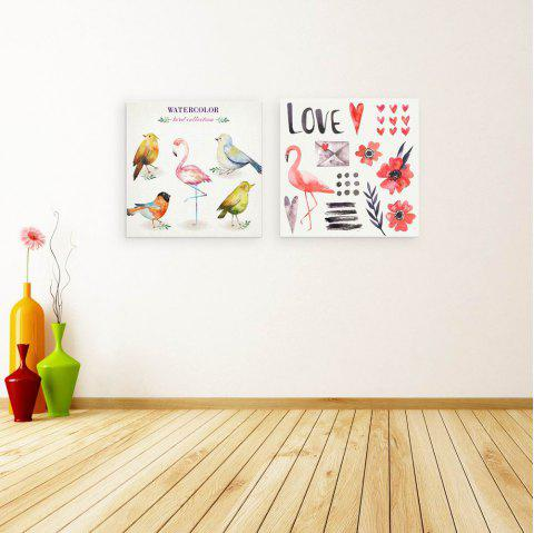 W155 Birds Unframed Art Wall Canvas Prints for Home Decorations 2 PCS - multicolor A 60CM X 60CM X 2PC