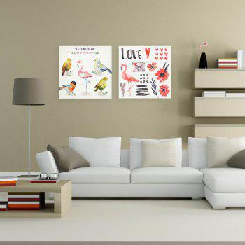 W155 Birds Unframed Art Wall Canvas Prints for Home Decorations 2 PCS - multicolor A 40CM X 40CM X 2PC