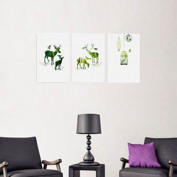 W160 Nordic Style Animals Unframed Canvas Prints for Home Decorations 3 PCS - multicolor A 30CM X 45CM X 3PC