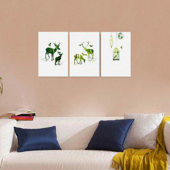 W160 Nordic Style Animals Unframed Canvas Prints for Home Decorations 3 PCS - multicolor A 50CM X 75CM X 3PC
