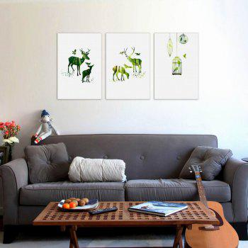 W160 Nordic Style Animals Unframed Canvas Prints for Home Decorations 3 PCS - multicolor A 60CM X 90CM X 3PC