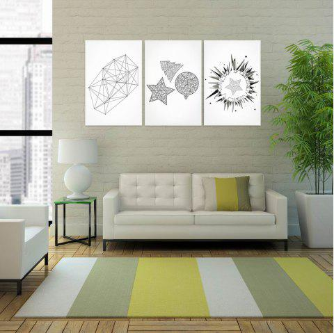 W161 Geometry Unframed Art Wall Canvas Prints for Home Decorations 3 PCS - multicolor A 40CM X 60CM X 3PC