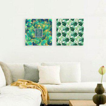 W163 Green Leaves Unframed Art Wall Canvas Prints for Home Decorations 2 PCS - multicolor A 20CM X 20CM X 2PC