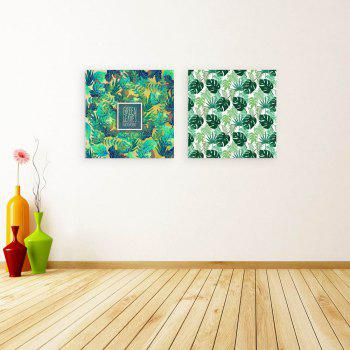 W163 Green Leaves Unframed Art Wall Canvas Prints for Home Decorations 2 PCS - multicolor A 30CM X 30CM X 2PC
