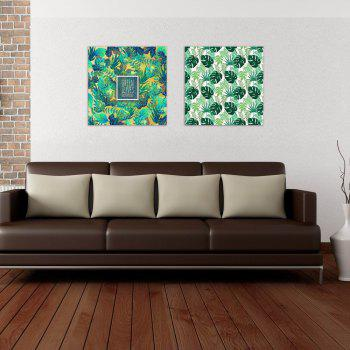 W163 Green Leaves Unframed Art Wall Canvas Prints for Home Decorations 2 PCS - multicolor A 40CM X 40CM X 2PC