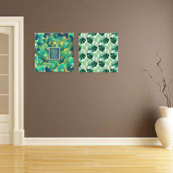 W163 Green Leaves Unframed Art Wall Canvas Prints for Home Decorations 2 PCS - multicolor A 60CM X 60CM X 2PC