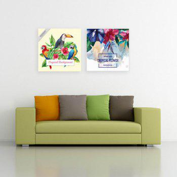 W164 Summer Flowers and Birds Unframed Canvas Prints for Home Decorations 2 PCS - multicolor A 20CM X 20CM X 2PC
