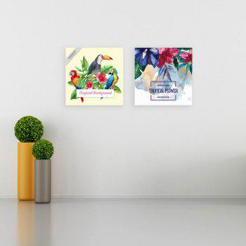 W164 Summer Flowers and Birds Unframed Canvas Prints for Home Decorations 2 PCS - multicolor A 30CM X 30CM X 2PC