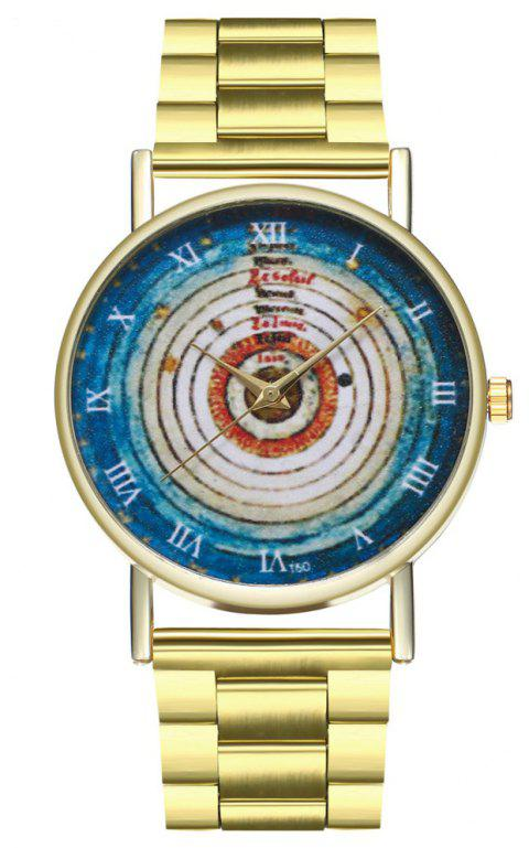 ZhouLianFa Annual Rings Solar System Illustration Astronomy Space Dress Watch - GOLD