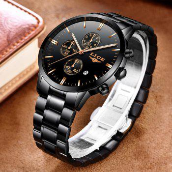 LIGE Luxury Chronograph Men Military Sports Waterproof Dress Watches - BLACK