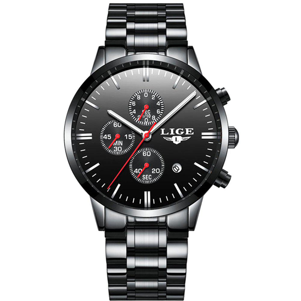 LIGE Luxury Chronograph Men Military Sports Waterproof Dress Watches - FIRE ENGINE RED