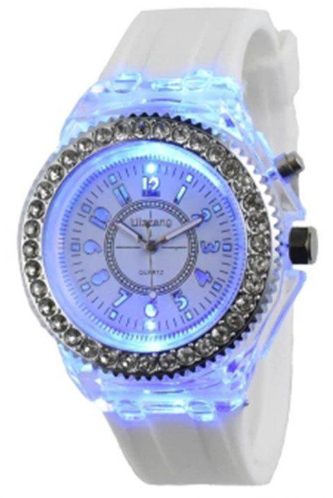 Geneva Creative Sparkle Noctilucent Luminous Simulated Diamond Watch for Student - WHITE