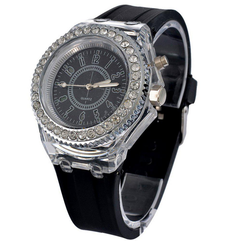 Genev Unique Creativ Sparkle Noctilucent Luminous Simulated Diamond Watch - BLACK