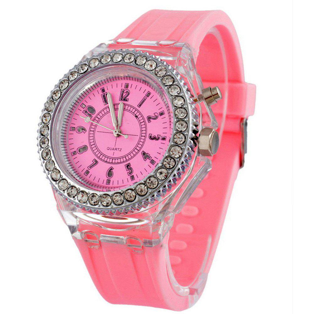 Geneva Creative Sparkle Noctilucent Luminous Simulated Diamond Watch for Student - PINK