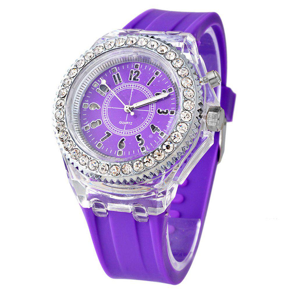 Geneva Creative Sparkle Noctilucent Luminous Simulated Diamond Watch for Student - PURPLE MIMOSA