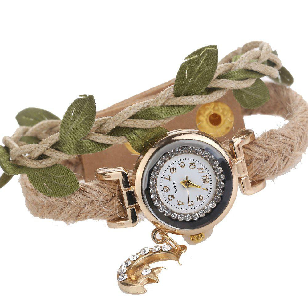 Women New Original Woven Pendant Bracelet Watch - LIGHT KHAKI