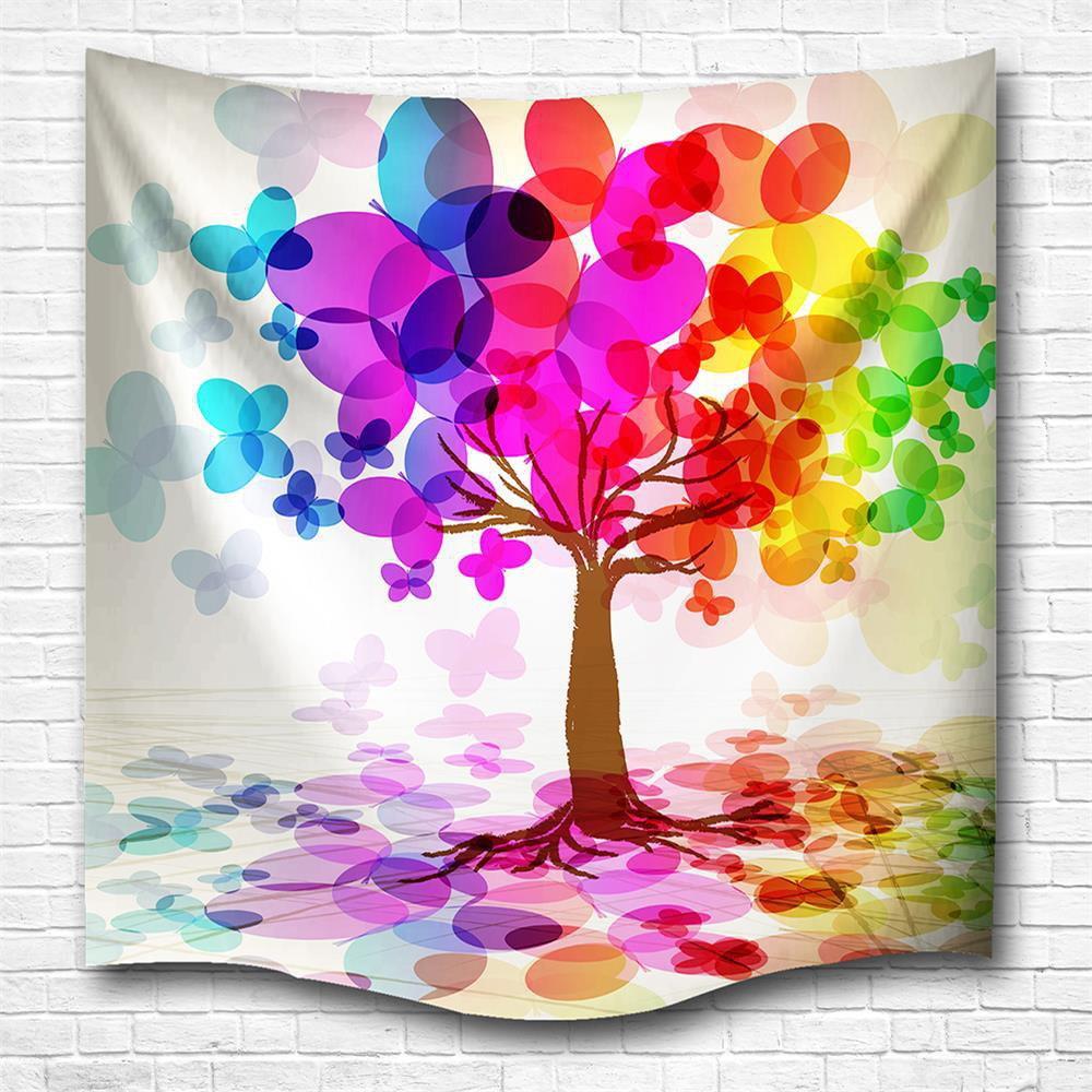 Colorful Tree 3D Printing Home Wall Hanging Tapestry for Decoration - multicolor A W203CMXL153CM