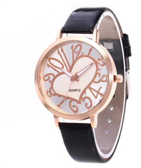 Love Arabic Numerals Dial Women Watch - BLACK
