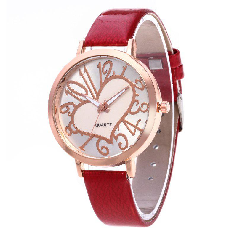 Love Arabic Numerals Dial Women Watch - RED