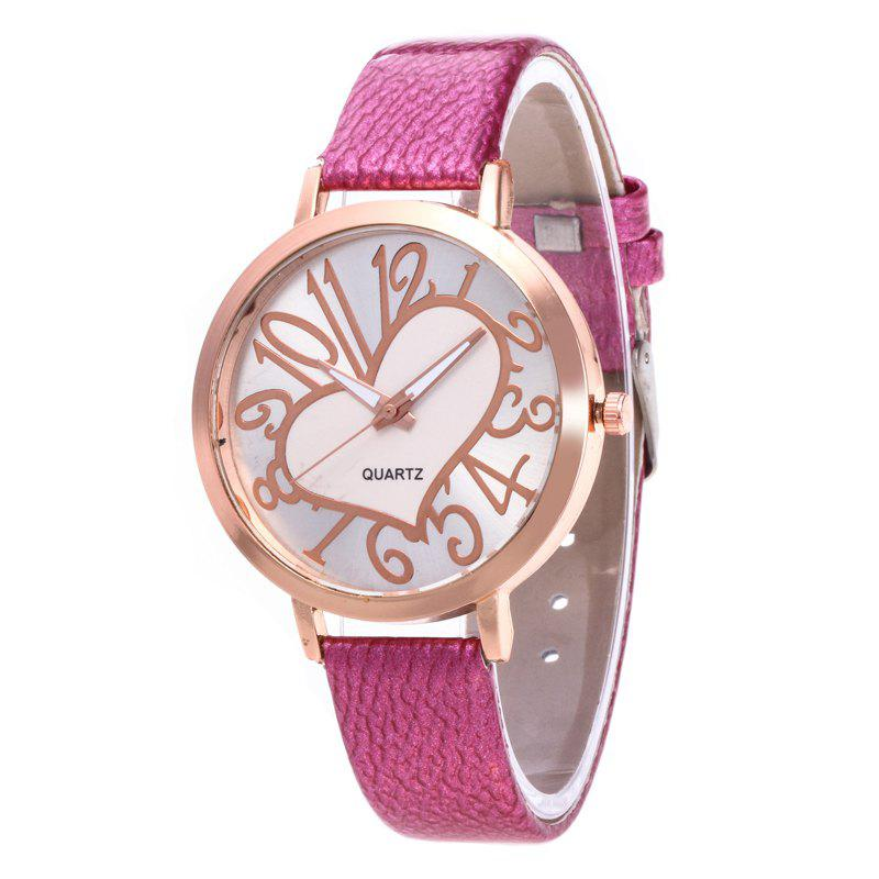 Love Arabic Numerals Dial Women Watch - ROSE RED