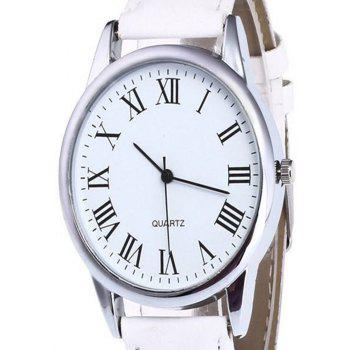 Men Watch with Solid Color Dial - WHITE