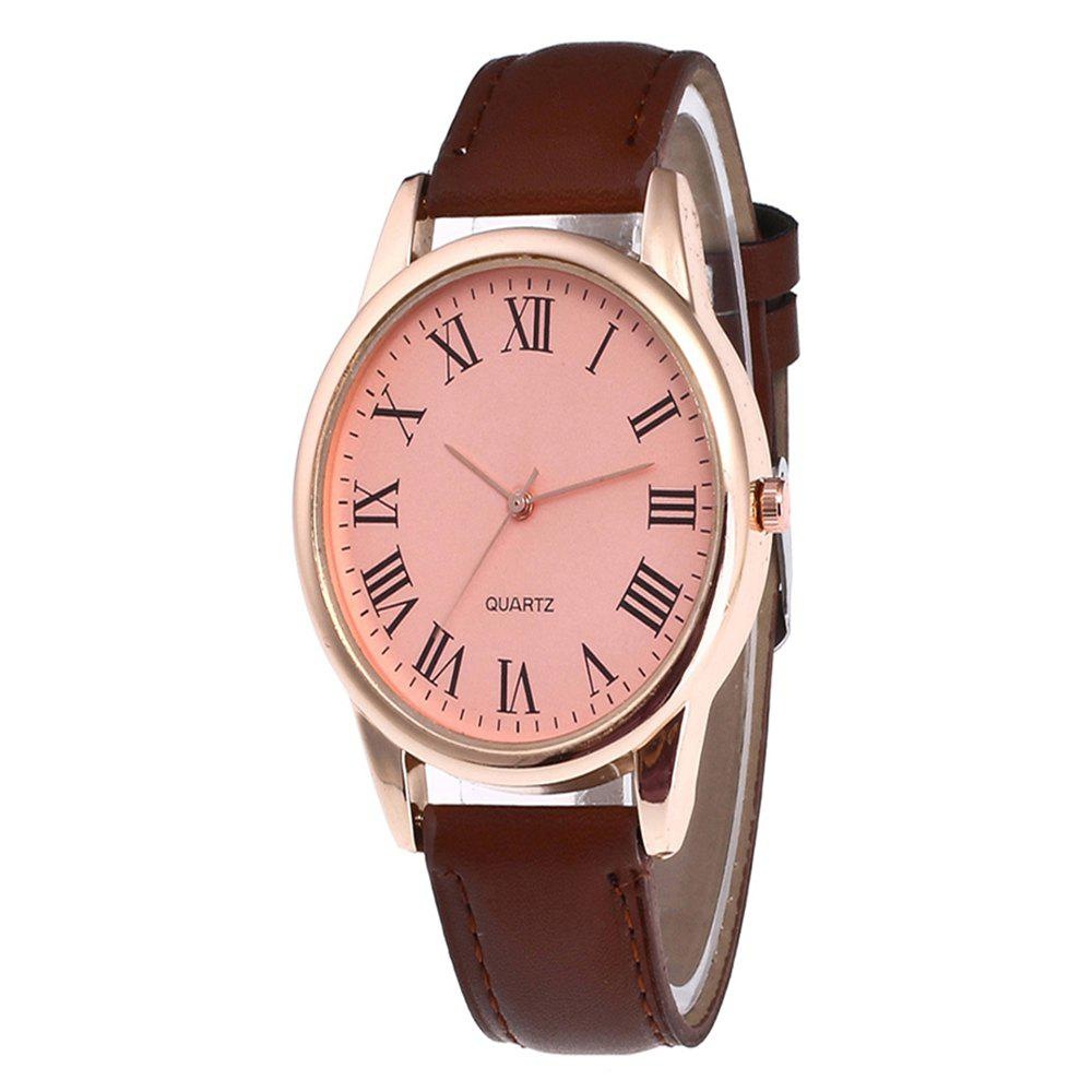 Men Watch with Solid Color Dial - COFFEE