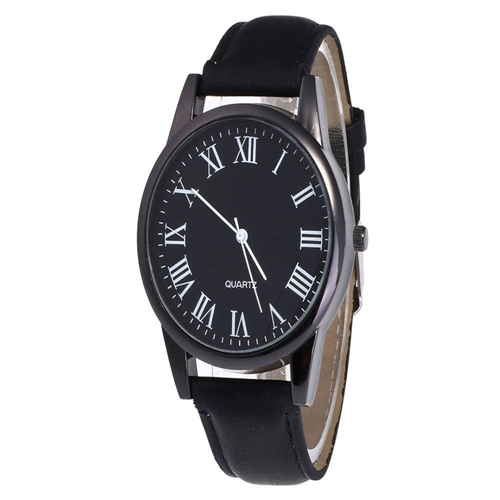 Men Watch with Solid Color Dial - BLACK