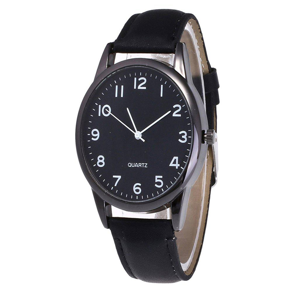 Fashionable Simple Man Leather Watch - BLACK