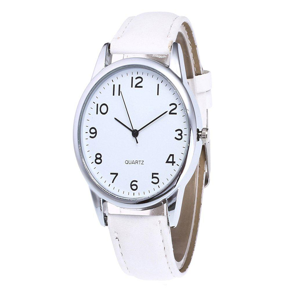 Fashionable Simple Man Leather Watch - WHITE