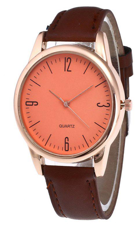 Simple Arabic Numerals  Scale Men Watch - COFFEE