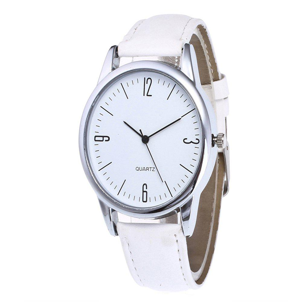 Simple Arabic Numerals  Scale Men Watch - WHITE
