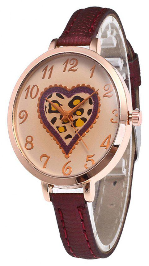 Love Tea Color Dial Women Watch - RED WINE