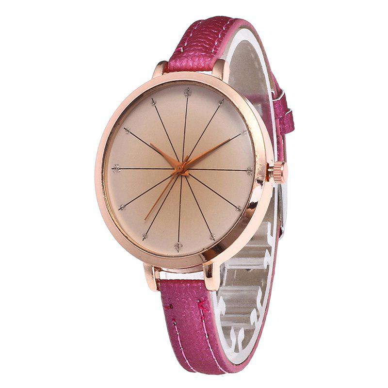 Tea Color Dial Women Quartz Watch - ROSE RED