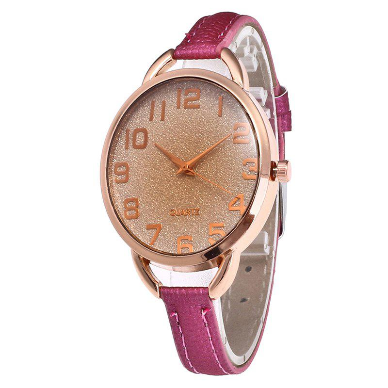Simple Digital Scale Quartz Watch - ROSE RED